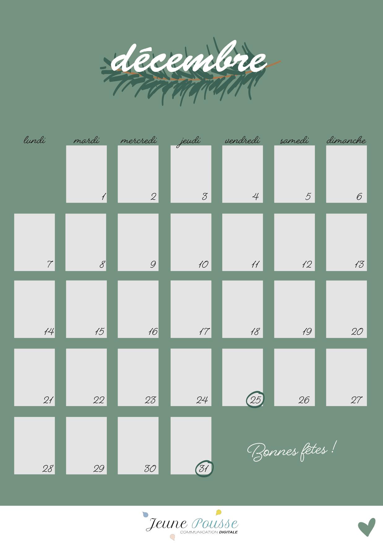 Calendrier freebies décembre 20